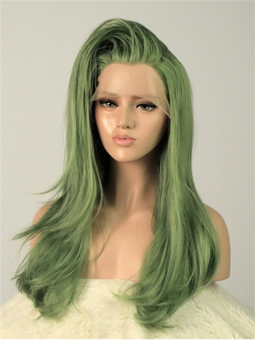 Ava Olive Green Synthetic Lace Front Wigs Raywigs