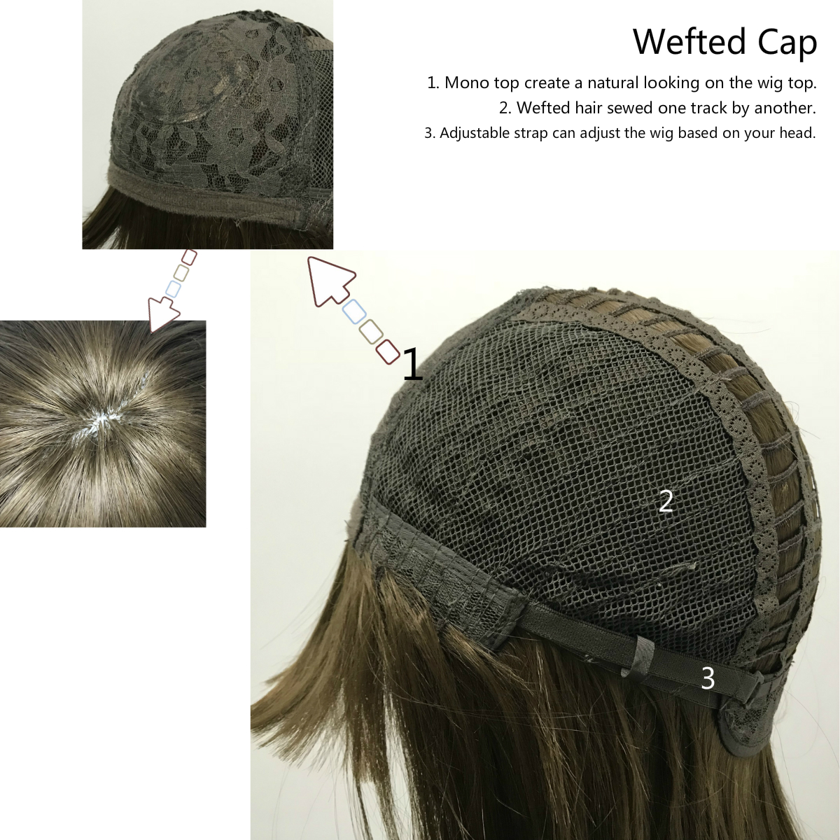 mono top wefted cap construction, capless wig