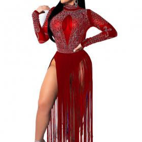 Red Sequin Fringe See Through Dance Dress