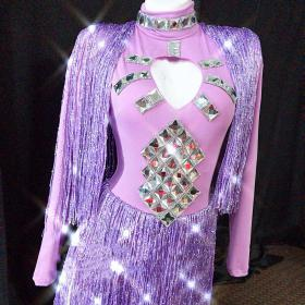 Violet Fringe Crystallized Dress
