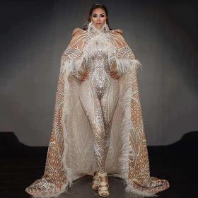Strethcable Jumpsuit with Long Feather Cloak