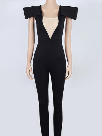 Black Bandage Tight Bodysuit