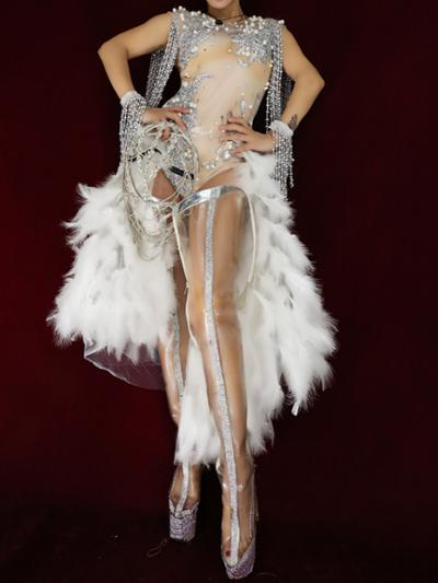 Flesh Bling Rhinestones Tassel Bodysuit With Feather Wrap