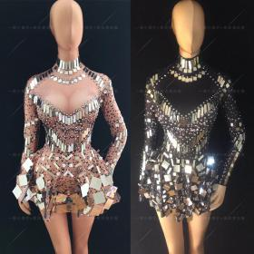 Nude Sequin Rhinestones Dress