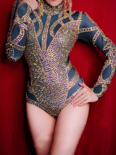 Black Rhinestones Rave Leotard