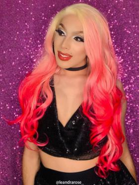 Flamingo Pink with Blonde Hair Root Ombre Drag Wig