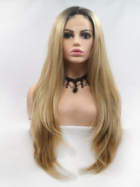 Blonde With Dark Root Long Wig