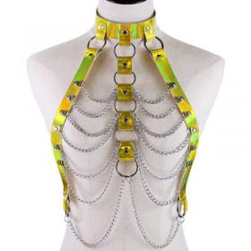 Yellow Body Cage Harness Bra Laser Metal Chain Rave Costume