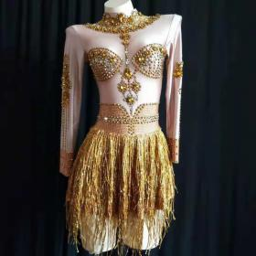 Golden Crystal Disco Dress