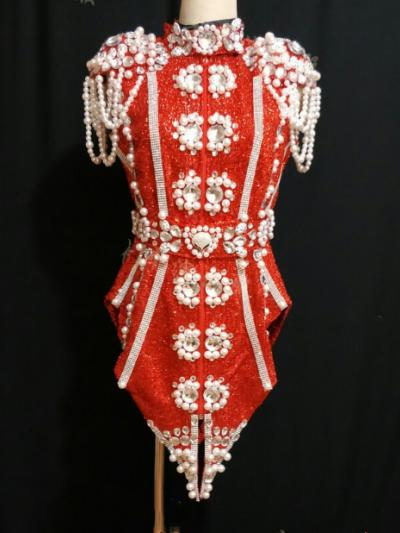 Red Pearl Sequin Suit