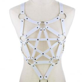White Harness Punk Adjustable Garter Belt Body Caged with Metal Chain Tassel