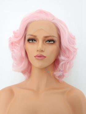 Classic Pink Hair Vintage Wavy Short Style Lace Wig - Style - Marilyn
