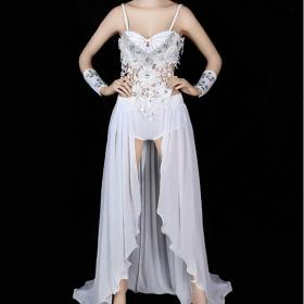 White Gown Dress with Long Trailing Drag Queen Showgirl Cabaret