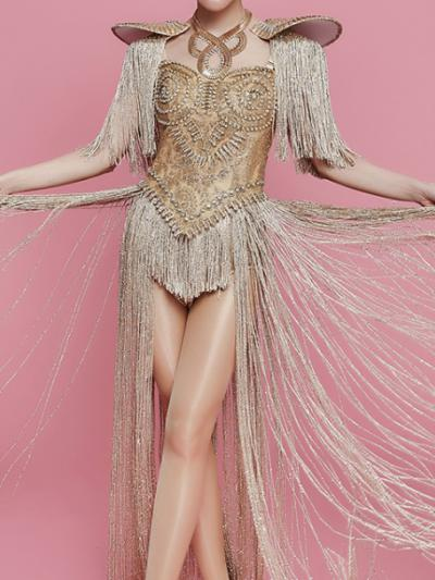 Golden Shoulder Pad Bling Rhinestones Fringe Leotard Bodysuit