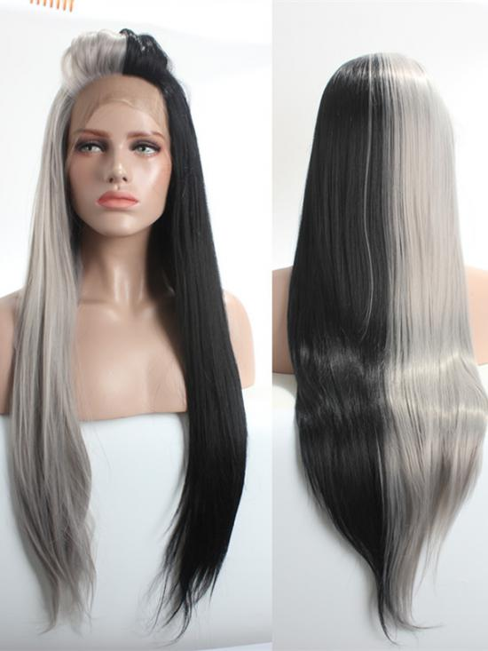 Half Blonde Half Black Lace Front Wig