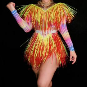 Red&Yellow Fringe Skirt