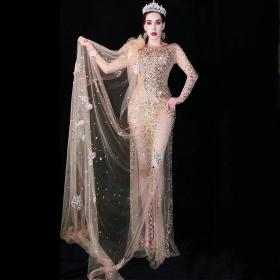 Gold Rhinestoned Long Trailing Dress