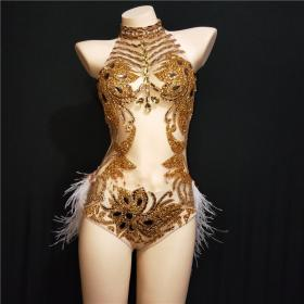 Golden Nude Crystallized Feather Leotard