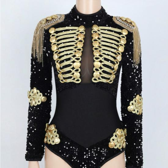 Black Sequin Corset Rave Clubwear