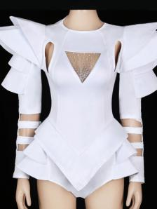 White Crystallised Rave Leotard Bodysuit