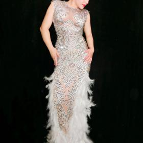 Nude Full Rhinestones Feather Dress
