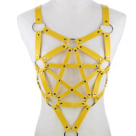 Yellow Harness Punk Adjustable Garter Belt Body Caged with Metal Chain Tassel