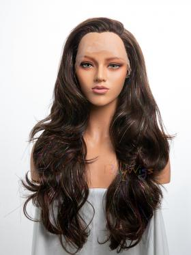 Colorful Tinsel Mixed Dark Brown Synthetic Lace Front Wig