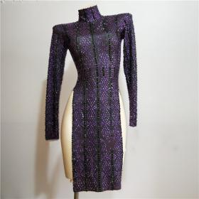 Purple&Black Rhinestones Split Dress