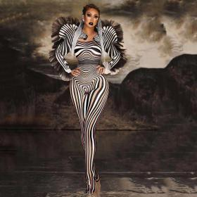 Zebra Leotard Bodysuit