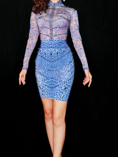 Blue Rhinestones Dress