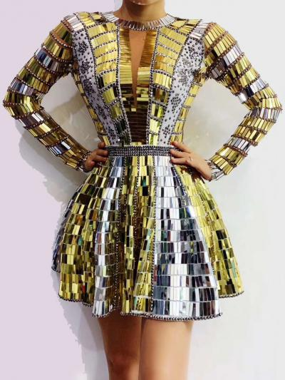 Mirror- like Gold and Silver Sequin Dress