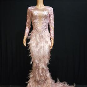 Pink Rhinestones Nude Feather Maxi Dress