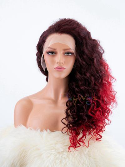 Dark Wine Red with Light Red Dip-dye Curly Wig - Style - Trinity