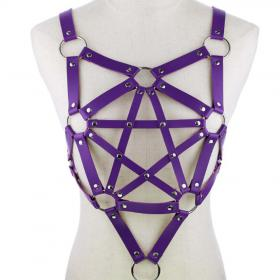 Purple Harness Punk Adjustable Garter Belt Body Caged with Metal Chain Tassel