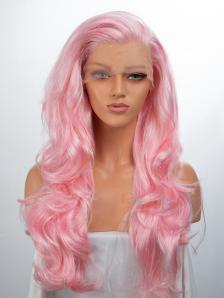 Blonde Tinsel Mixed Pink Color Synthetic Lace Front Wig