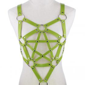 Green Harness Punk Adjustable Garter Belt Body Caged with Metal Chain Tassel