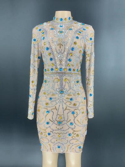 Blue and Yellow Rhinestone Dress