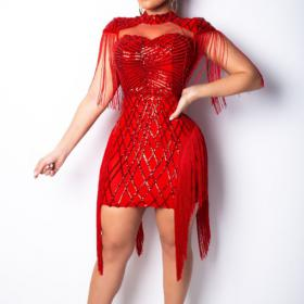 Red Sequin Fringe Dance Dress