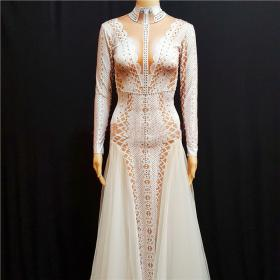 White Rhinestones Mesh Nude Dress