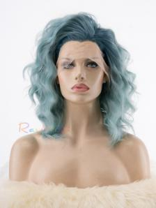 Dusty Blue Wavy above Shoulder Synthetic Lace Wig - Style - Emma