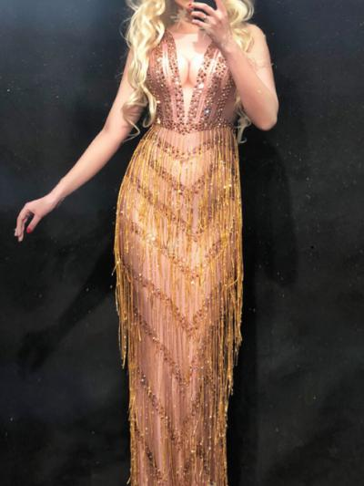 Golden Fringe Rhinestones Nude Dress