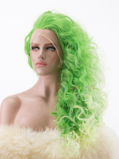 Gradient Green Light Yellow Dip-dye Curly Hair Lace Wig - Style - Trinity
