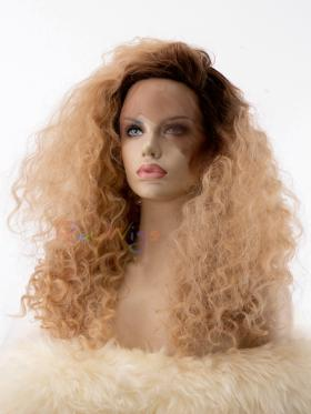 Dark Blonde with Dark Root Curly Drag Wig - Style - Trinity