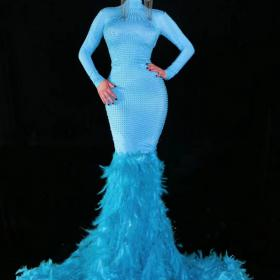 Blue Rhinestones Feather Maxi Dress