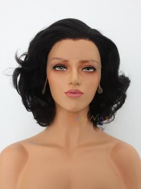 Classic Black Vintage Short Wavy Style Lace Wig - Style - Marilyn