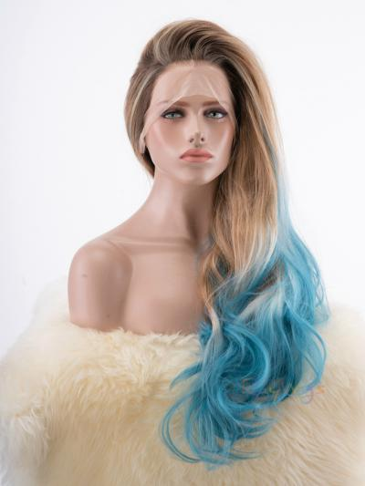 Blue Dip Dye with Brown Root Color Drag Wig - Style - Olivia