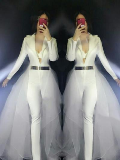 White Suit With Trailing