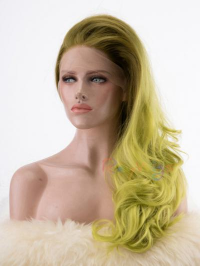 Kiwi Green Wavy Long Synthetic Drag Wig - Style - Olivia