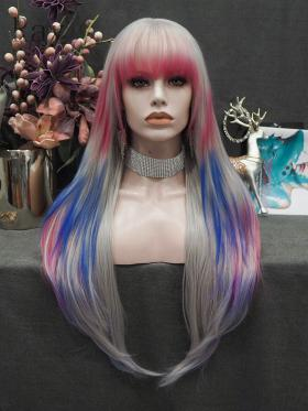 RayWigs Special Offer- Bang Deep Grey Mix Pink and Blue
