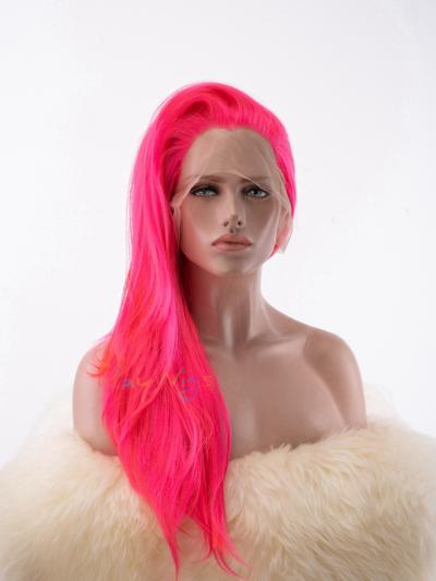 Fluorescence Pink Color Stage Wig - Style - Ava